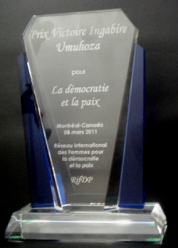 Rwanda-Canada : Inauguration d'un prix Victoire Ingabire Umuhoza