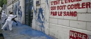 Militants RSF devant l'ambassade de Syrie à Paris