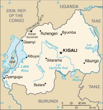 Cyangungu sur l'ancienne carte du Rwanda