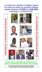 Belgique : Action de solidarité en l'honneur des prisonniers politiques du Rwanda