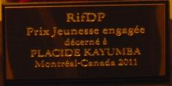RifDP, Prix Jeunesse engagée décerné à Placide Kayumba, Montréal, Canada 2011