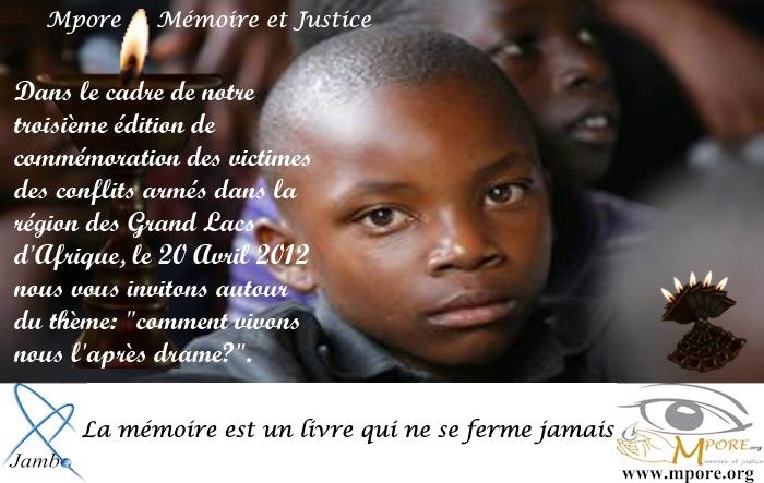 Belgique : Mpore commémore toutes les victimes des Grands Lacs
