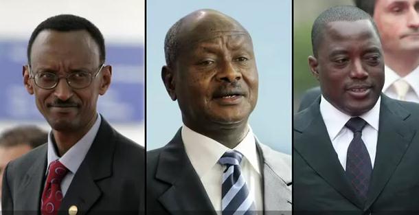 Les présidents Paul Kagame, Yoweri Museveni et Joseph Kabila
