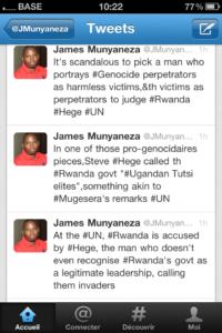 James Munyaneza, un journaliste du New Times, chargeant Hege sur son compte twitter.