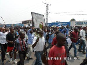 Manifestation de ce jeudi 18 juillet - source: Jean-Mobert N'senga