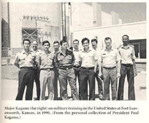 le Major Kagame, en 1990, lors d'un camp militaire d'entrainement au fort de Leavensworth (Kansan, USA)
