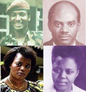 En haut: Maj. Gen Fred Gisa Rwigyema, Michael Rwagasana En bas: Agatha Uwiringiyimana, Felicita Niyitegeka