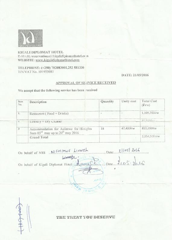 Facture payé par le NISS pour les frais de Lionel Nishimwe au Kigali Diplomat Hotel